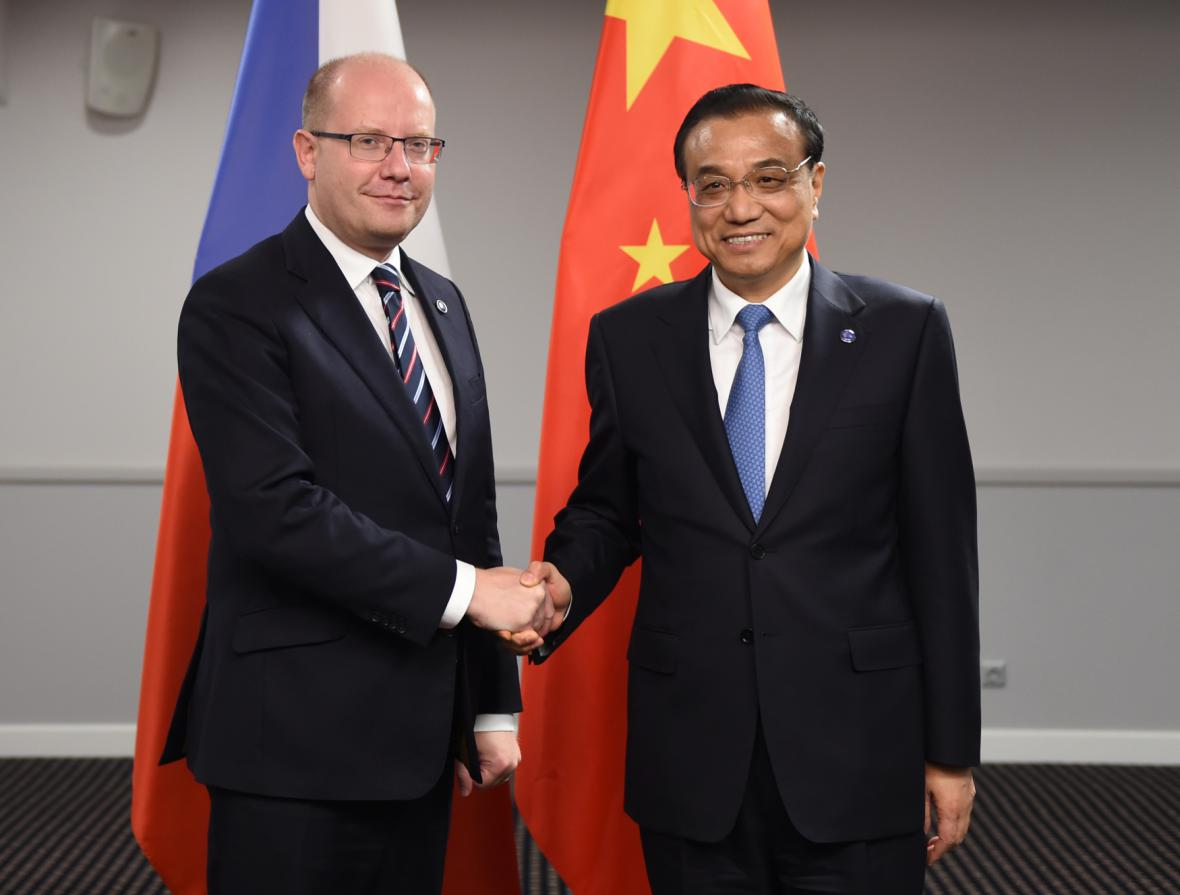 Bohuslav Sobotka a čínský premiér Li Kche-čchiang