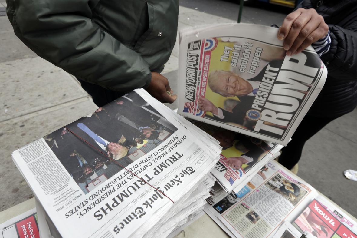 Americký tisk o vítězství Donalda Trumpa