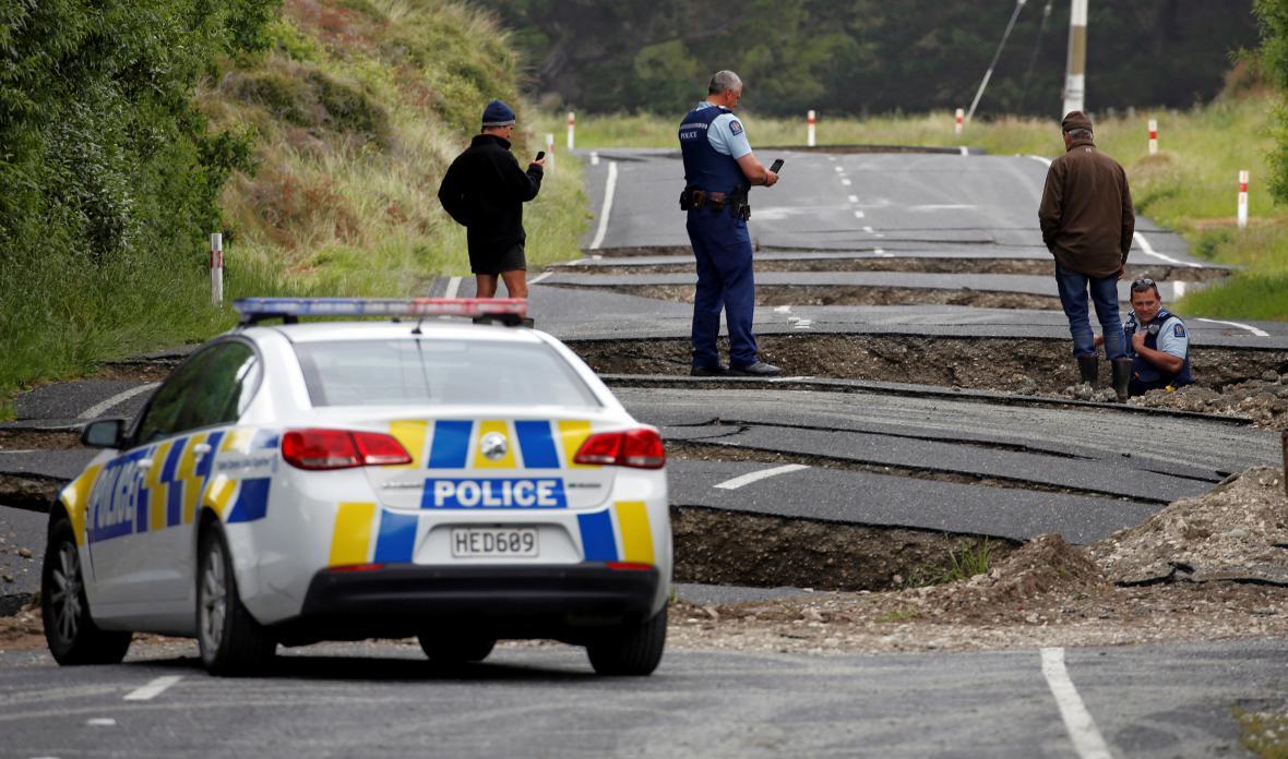 Následky otřesů v centrální části Zélandu