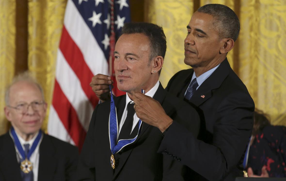Obama a zpěvák Bruce Springsteen