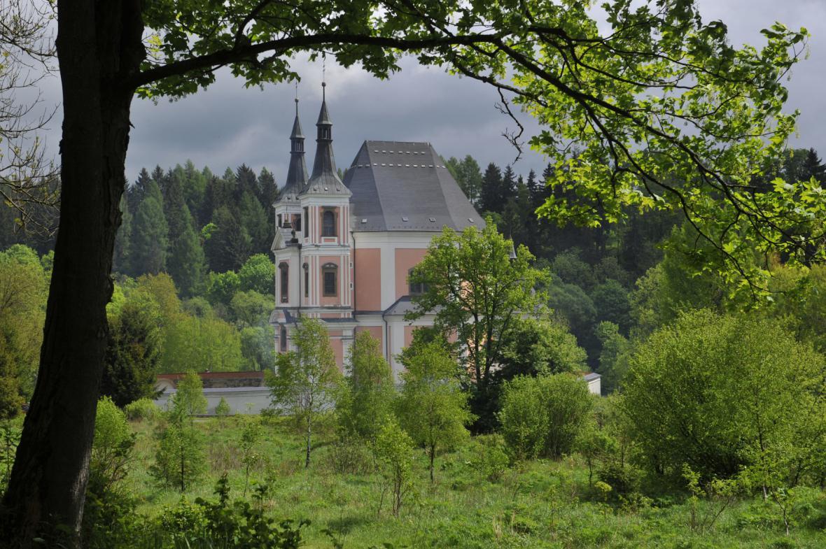 Kostel a jeho okolí ve Staré Vodě