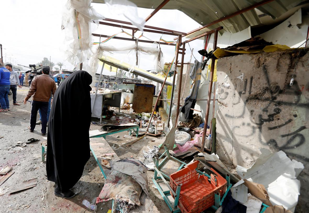 Místo výbuchu v bagdádské čtvrti Sadr