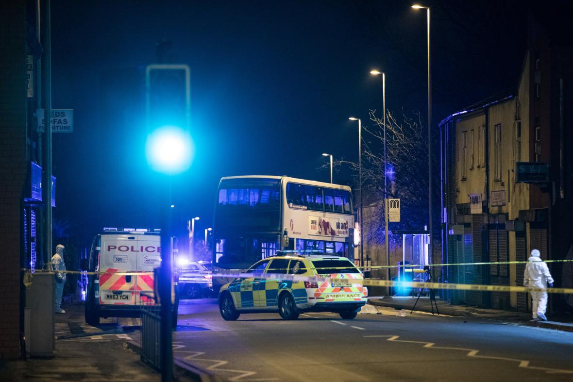 Místo nehody v Oldhamu
