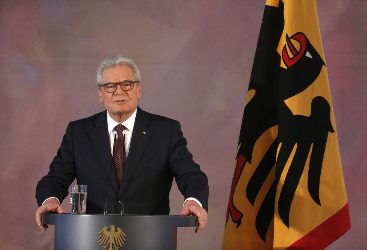 Joachim Gauck při svém posledním projevu ve funkci spolkového prezidenta