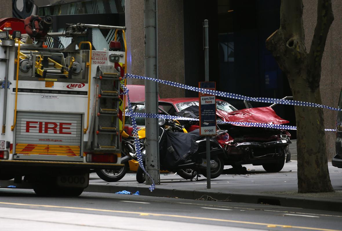 Záběry zničeného vozidla