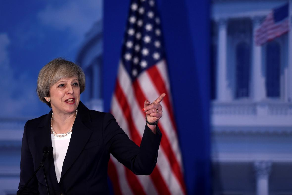 Theresa Mayová při projevu k americkým republikánům
