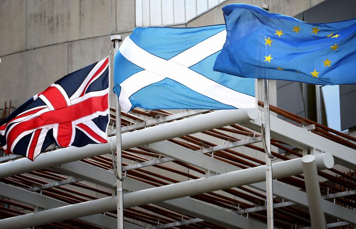 Vlajky Velké Británie, Skotska a Evropské unie