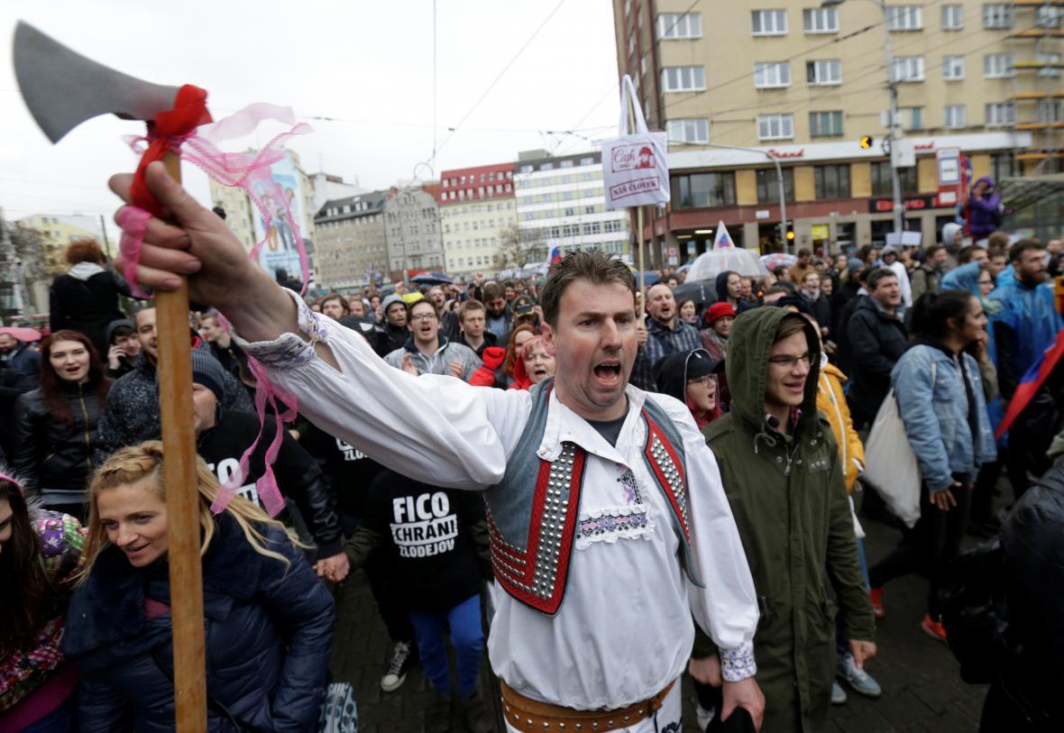 Demonstrace proti korupci v Bratislavě