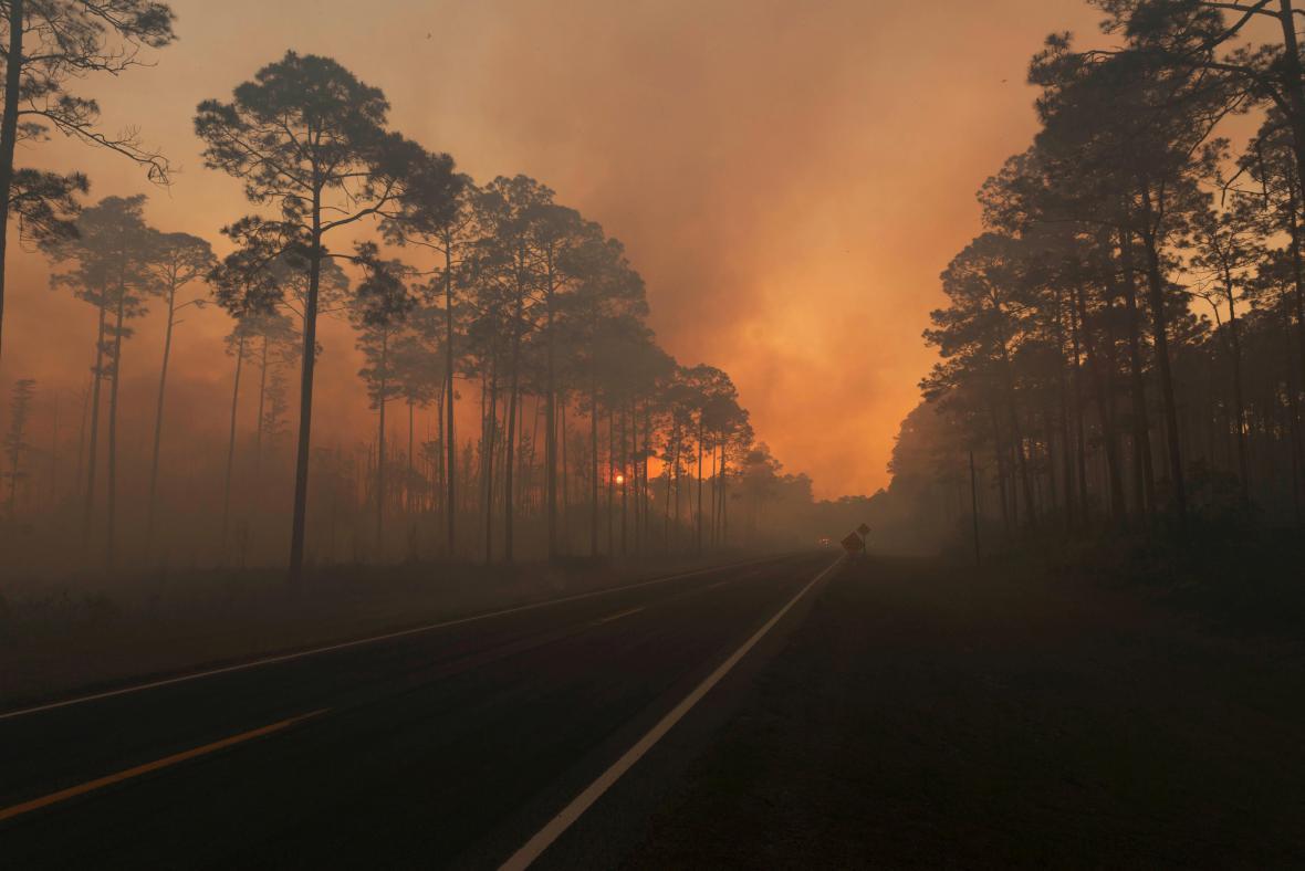 Požár v rezervaci Okefenokee při hranici Georgie a Floridy