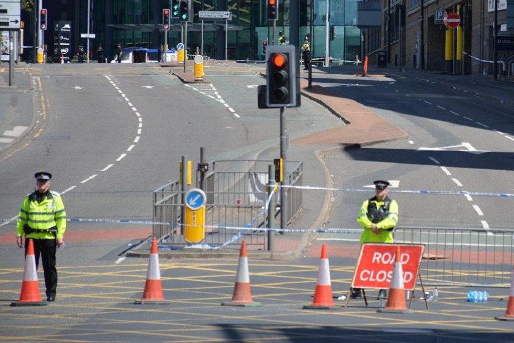 Policejní zátarasy v Manchesteru