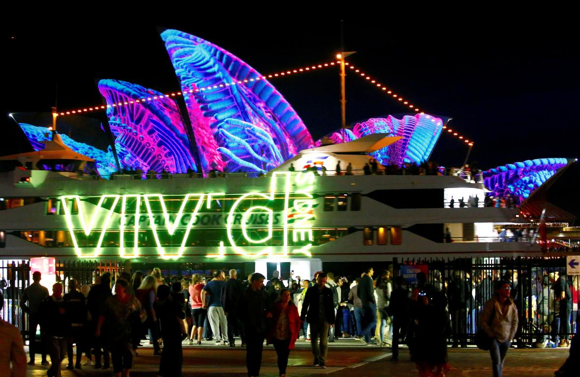 Projekce na opeře při festivalu Vivid Sydney