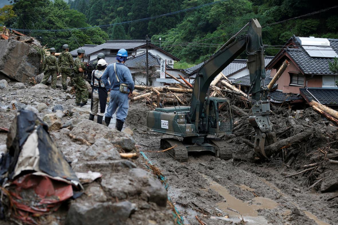 Následky povodní v oblasti Fukuoka