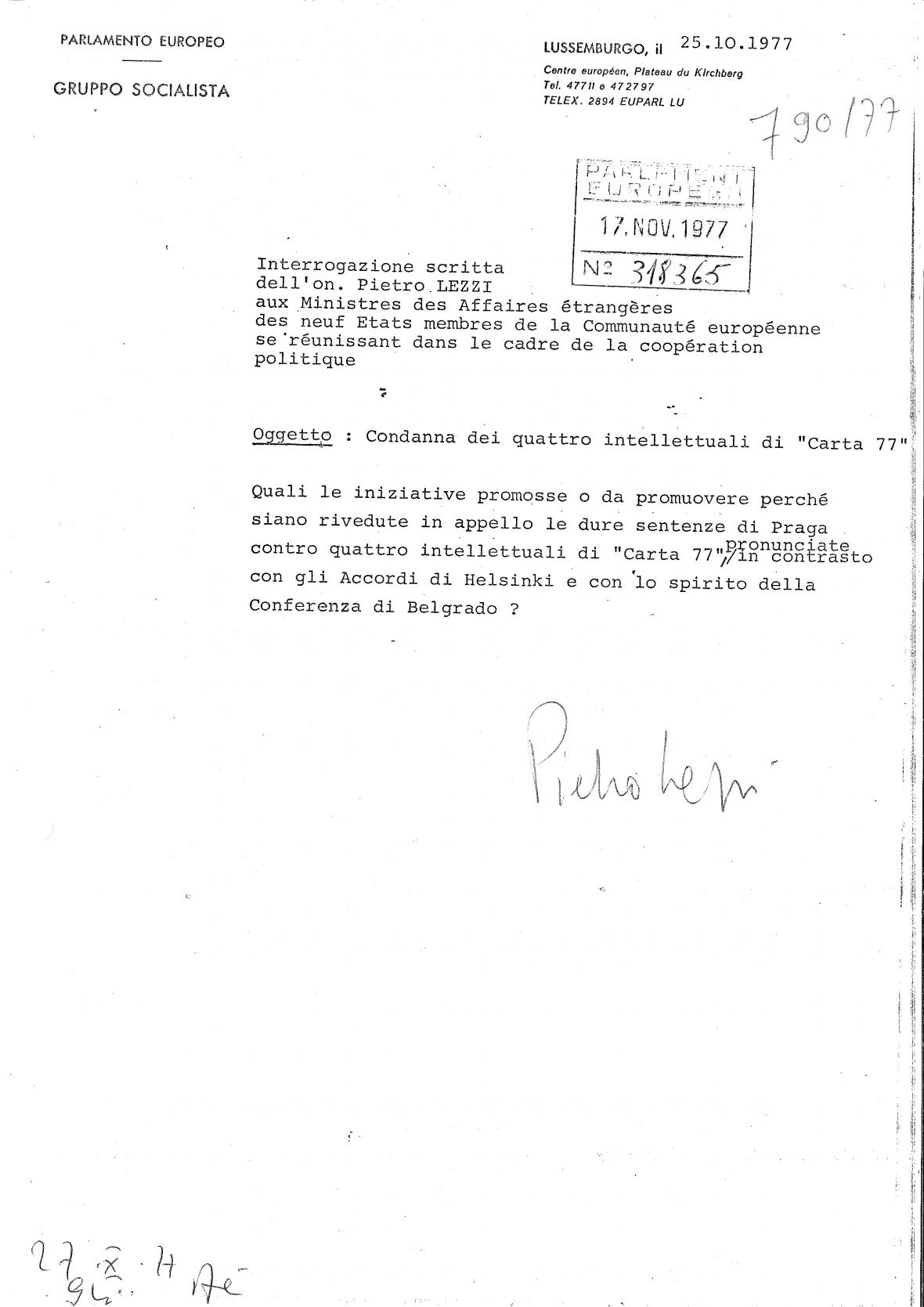 Otázka Pietra Lezziho na postoj EU ohledně zatýkání československých disidentů