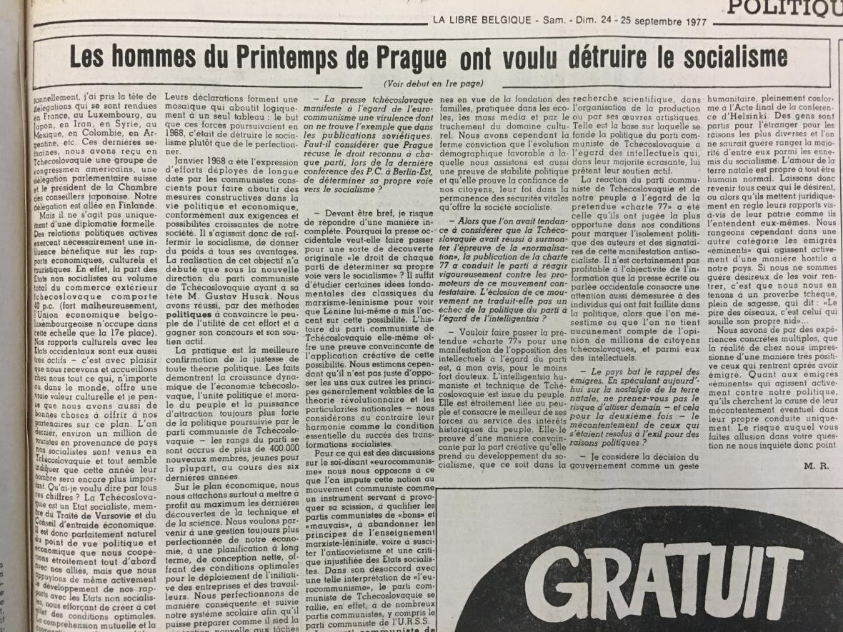La Libre Belgique o návštěvě