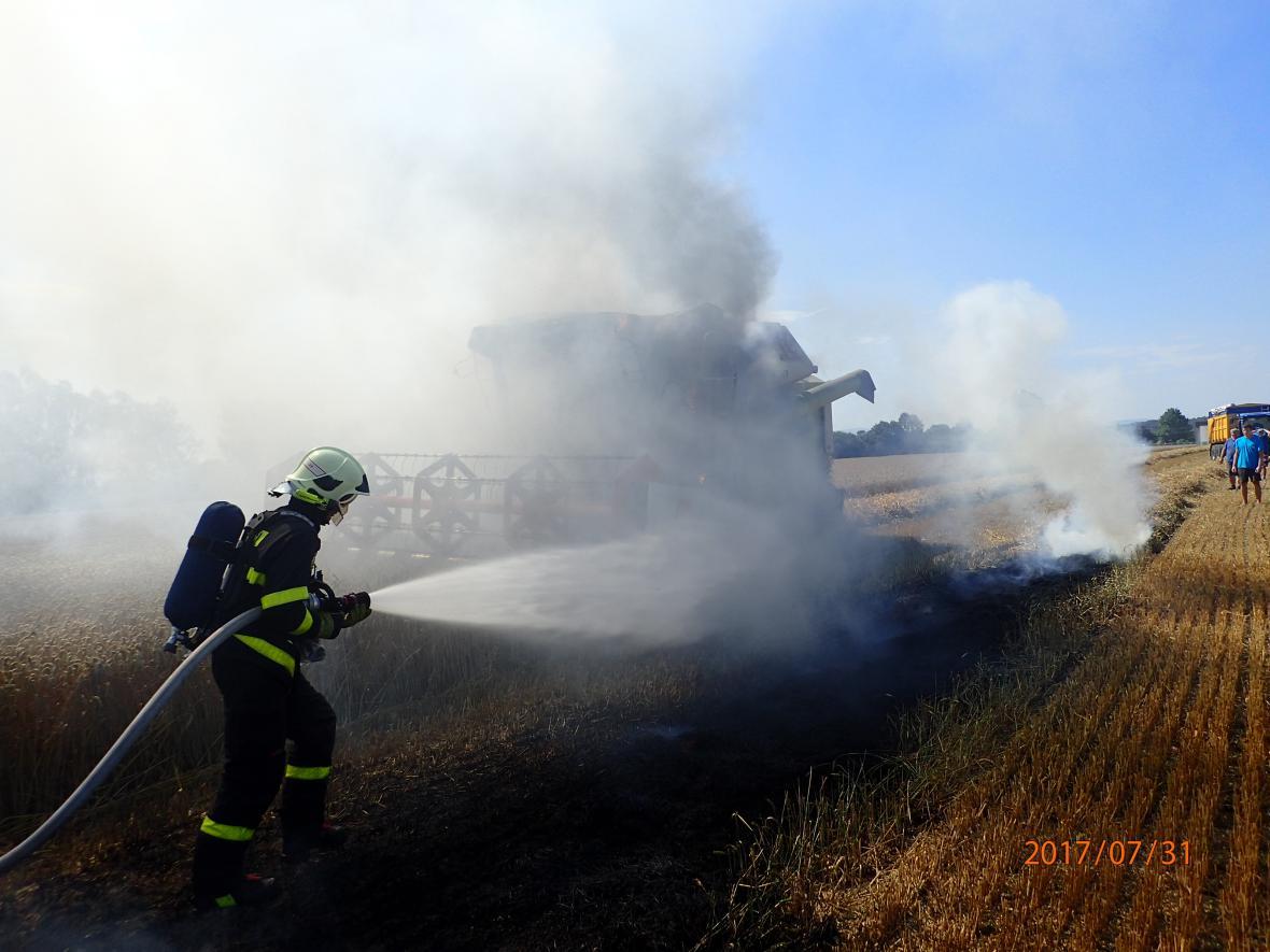 Požár kombajnu