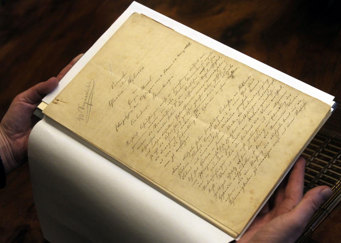 150 let starý rukopis G.J.Mendela