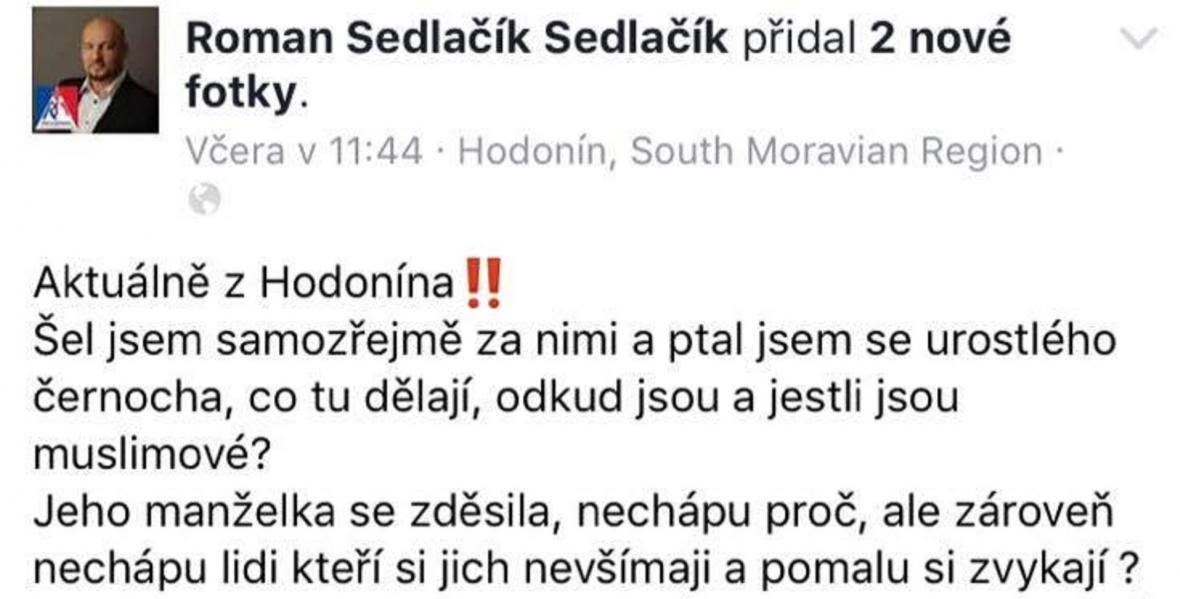 Část příspěvku Romana Sedlačíka