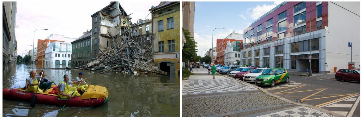 Srovnání: Povodně 2002 v Praze a stejné místo dnes