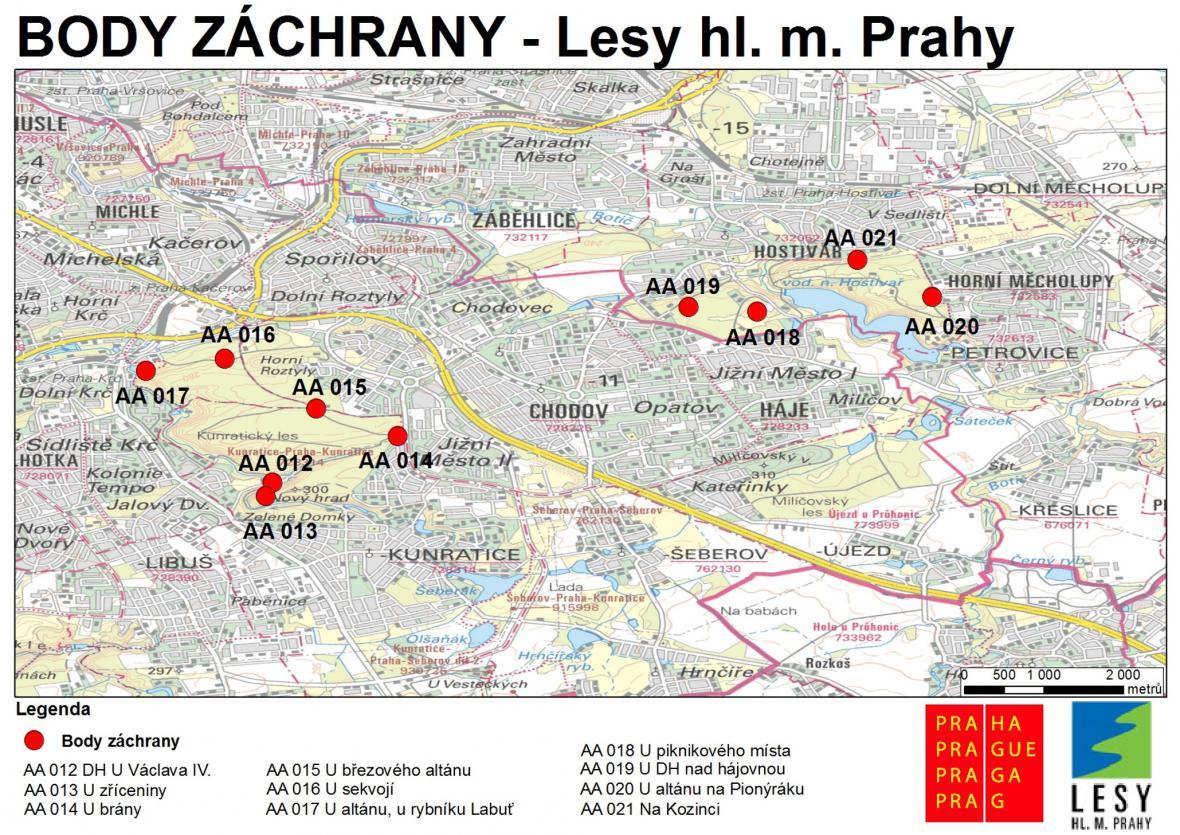 Body záchrany v pražských lesích