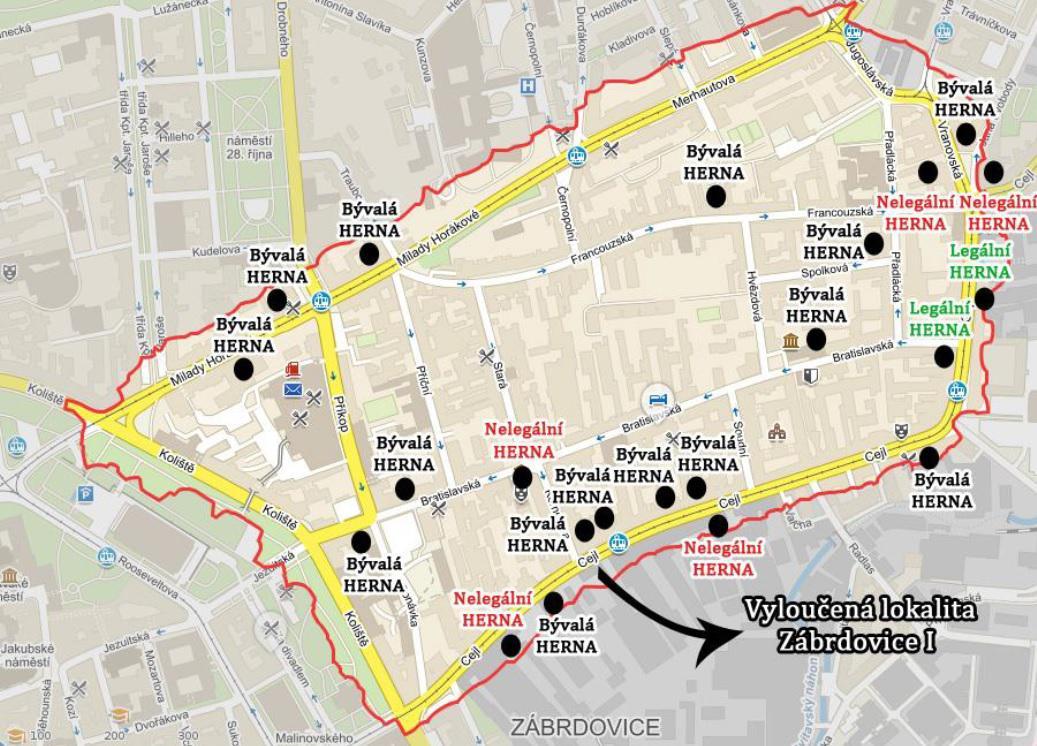 Herny z vyloučených lokalit v Brně téměř zmizely