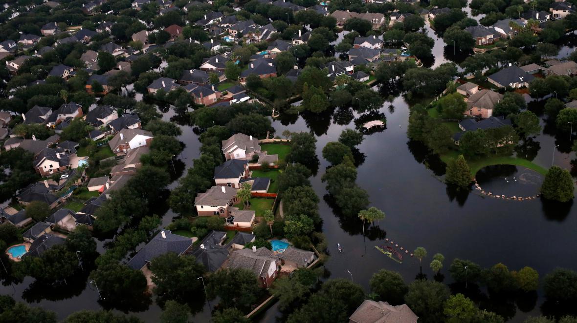 Zaplavená čtvrť města Houston