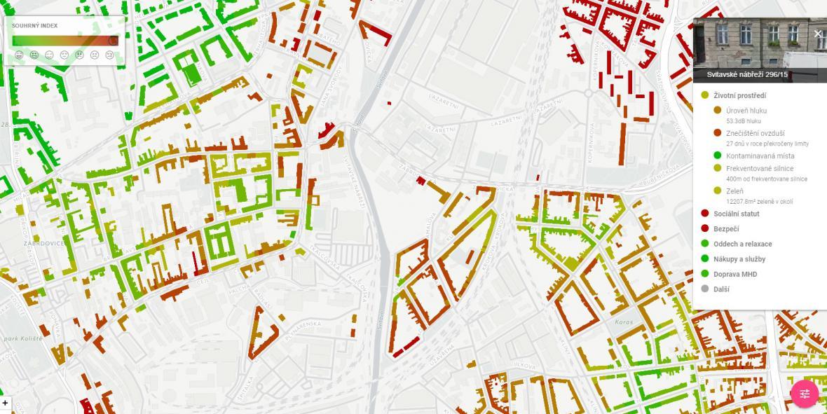 Mapa kvality bydlení v Brně