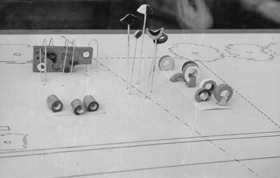 Maketa nerealizovaného návrhu prolézačky pro dětské hřiště ve Stromovce (1961)