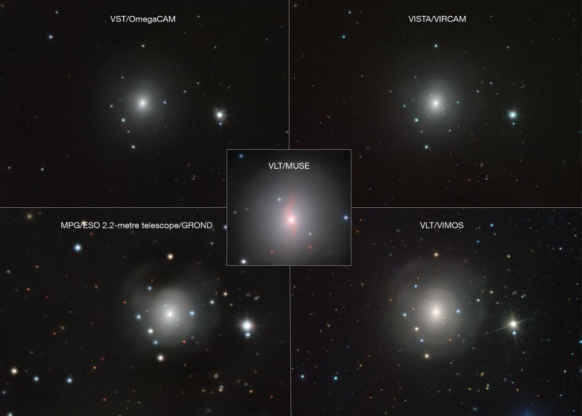 Mozajka snímků galaxie NGC 4993 a kilonovy pořízených dalekohledy ESO