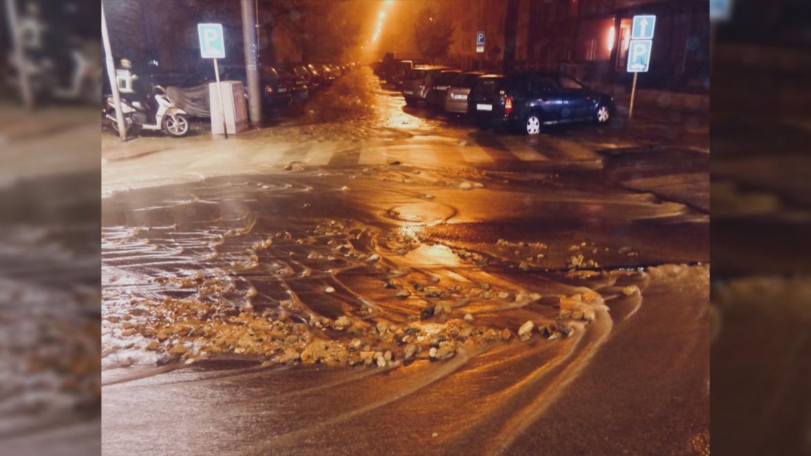 Havárie vodovodu v Brně
