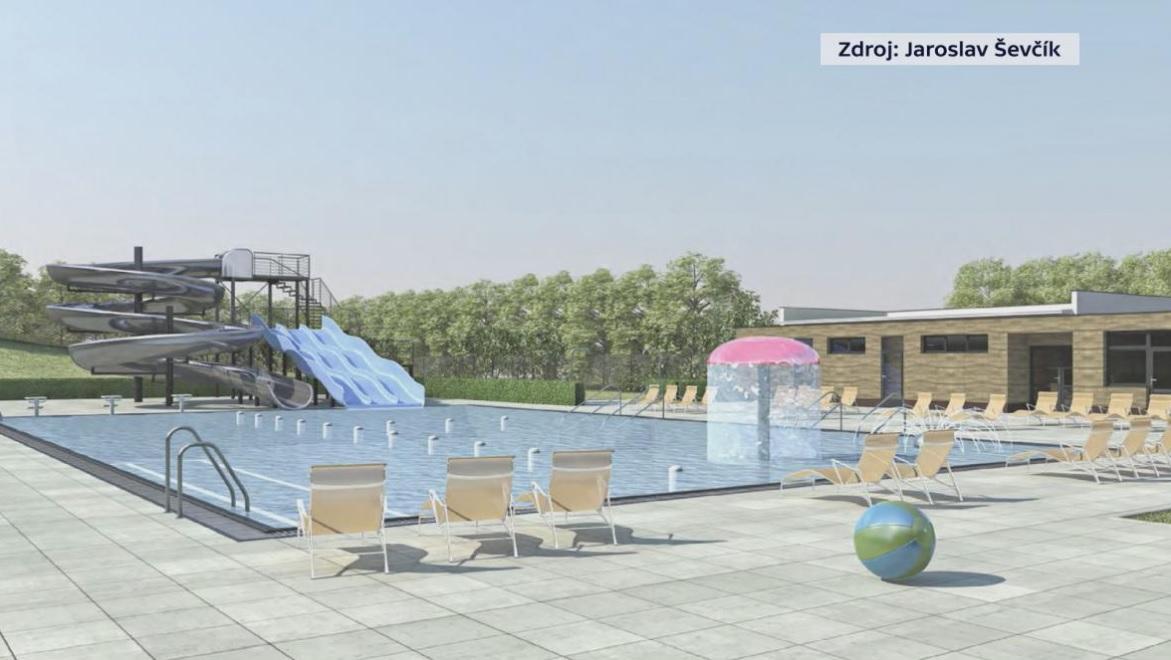Vizualizace venkovního a krytého bazénu v Zubří