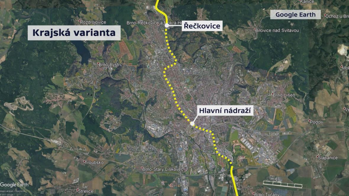 Městská a krajská varianta podzemní dráhy v Brně