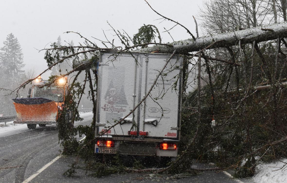 V Německu komplikovaly dopravu popadané stromy