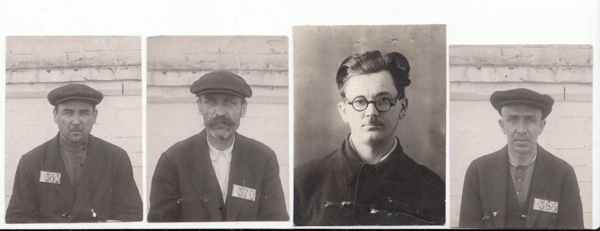 Vězeňské fotografie českých učitelů Václava Pišla, Jaroslava Boučka, Antonína Vodseďálka (třetí zleva) a dělníka Josefa Hegra. Všichni mimo Pišla byli odsouzeni k trestu smrti