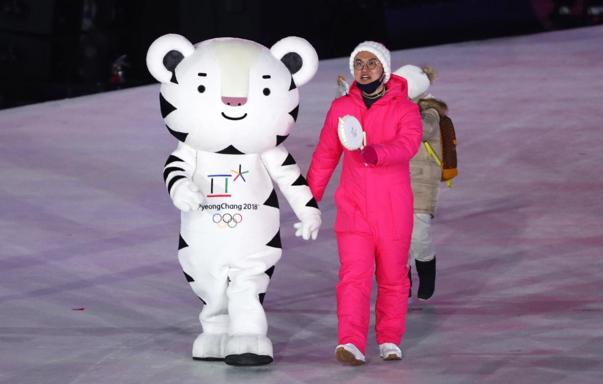 Maskot olympijských her tygr Soohorang