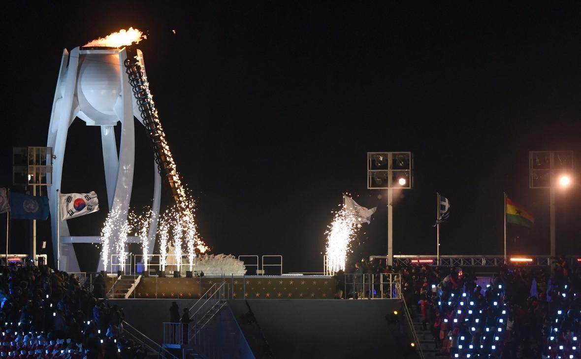 Zapálení olympijského ohně nad Pchjongčchangem
