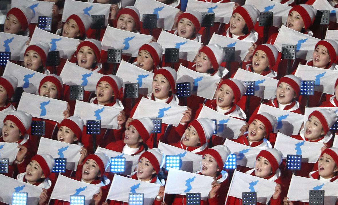 Severokorejské roztleskávačky na olympiádě v Pchjongčchangu