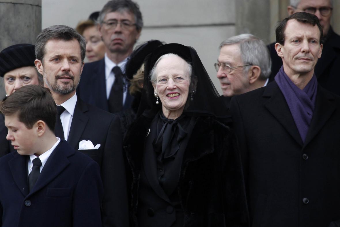 Pohřbu se zúčastnila i královna Margrethe II