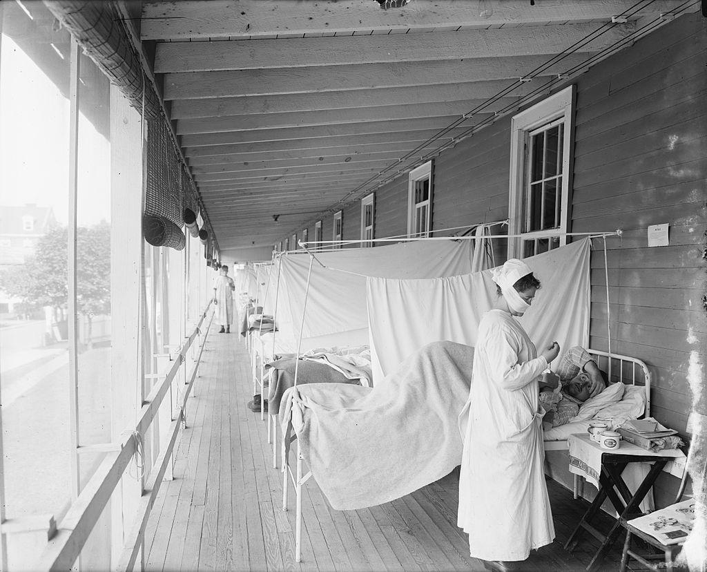 Oddělení nemocných chřipkou v nemocnici Waltera Reeda