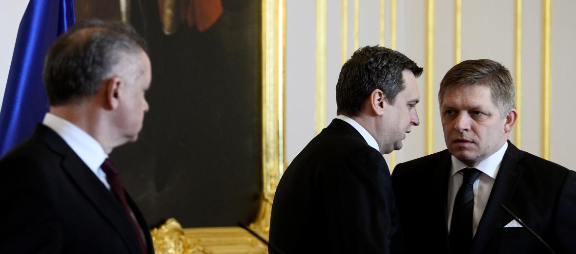 Prezident Andrej Kiska, šéf slovenského parlamentu Andrej Danko a premiér Robert Fico