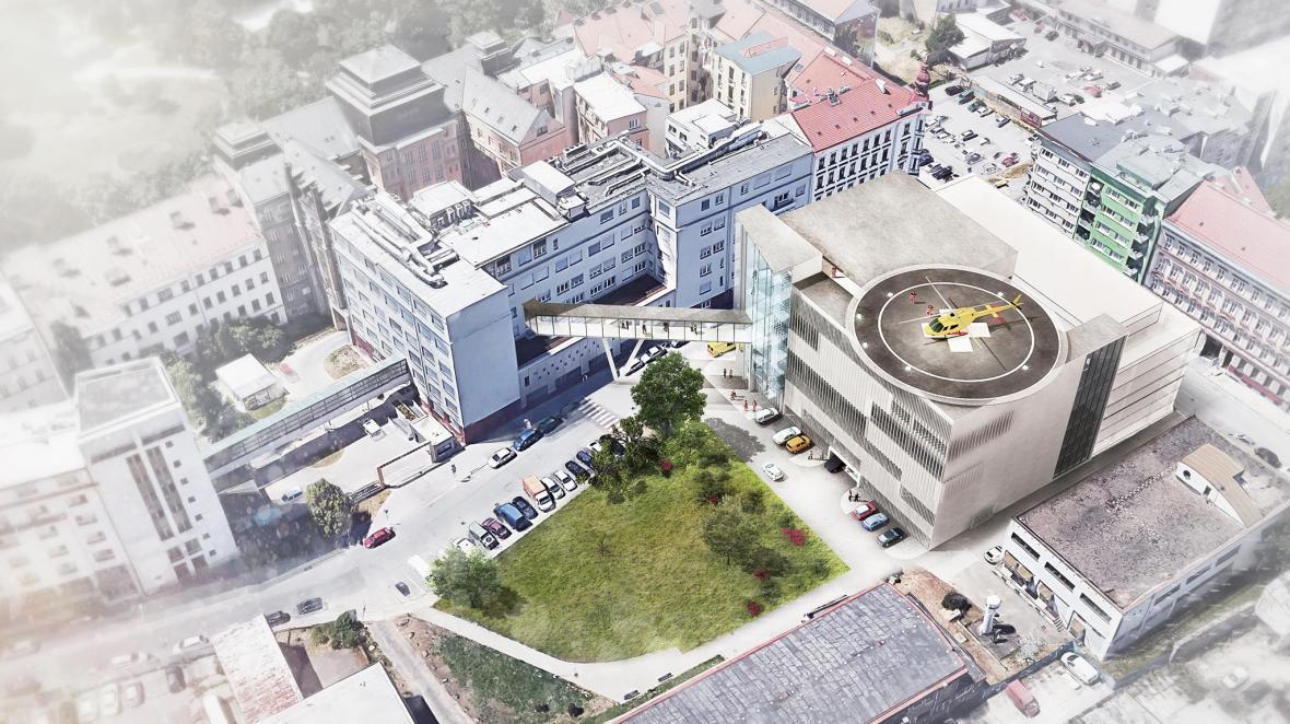 Vizualizace nového pavilonu Úrazové nemocnice