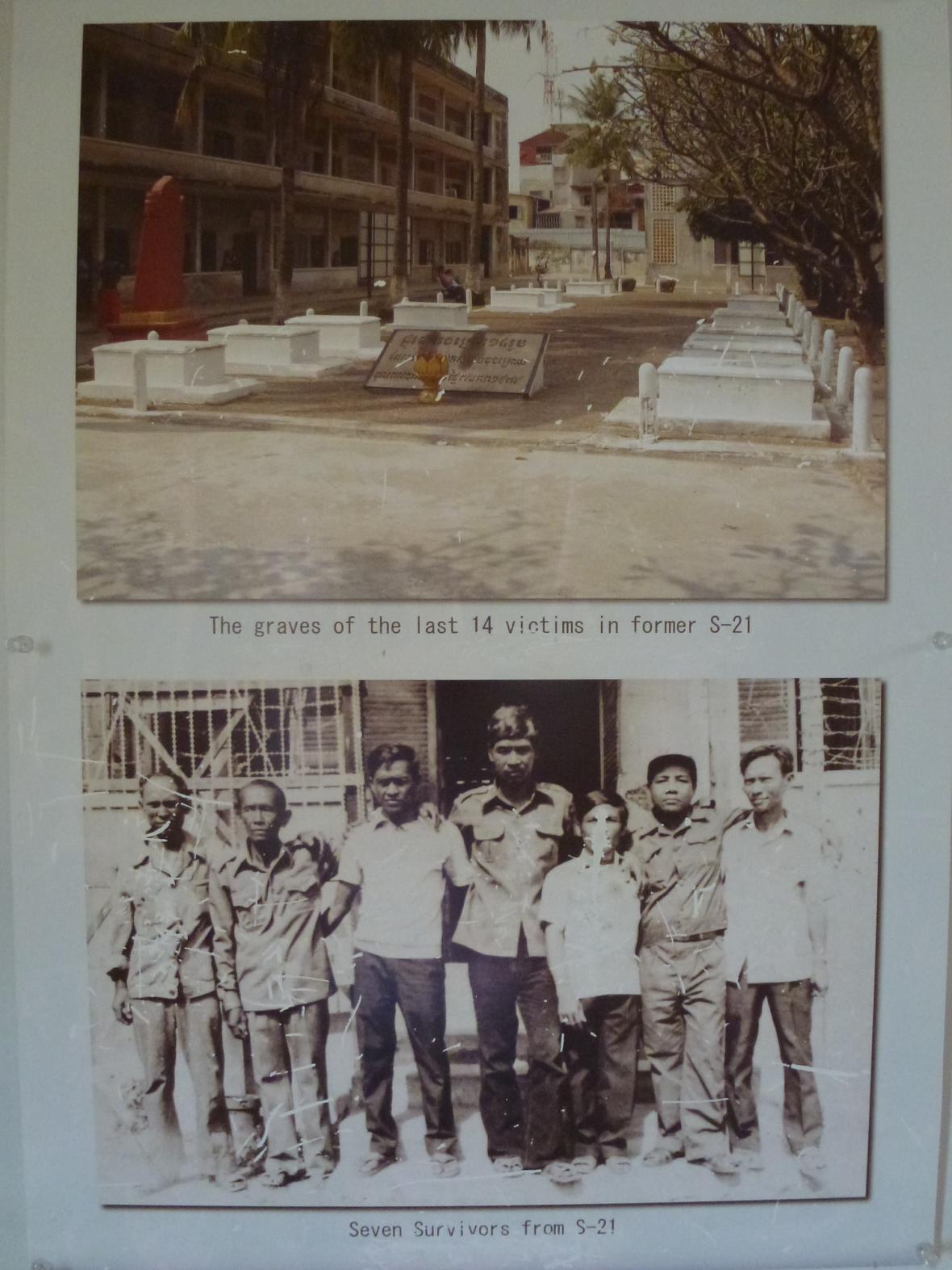 Hroby posledních 14 zabitých vězňů a sedm přeživších