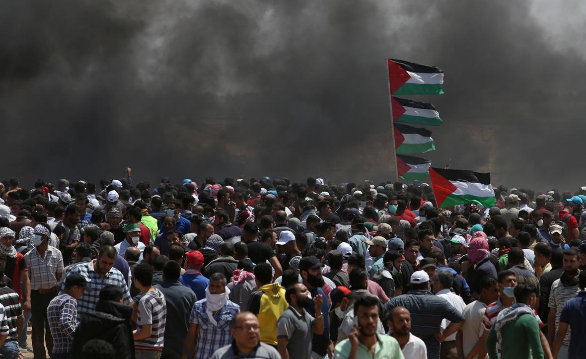 Palestinské protesty proti přesunutí americké ambasády do Jeruzaléma