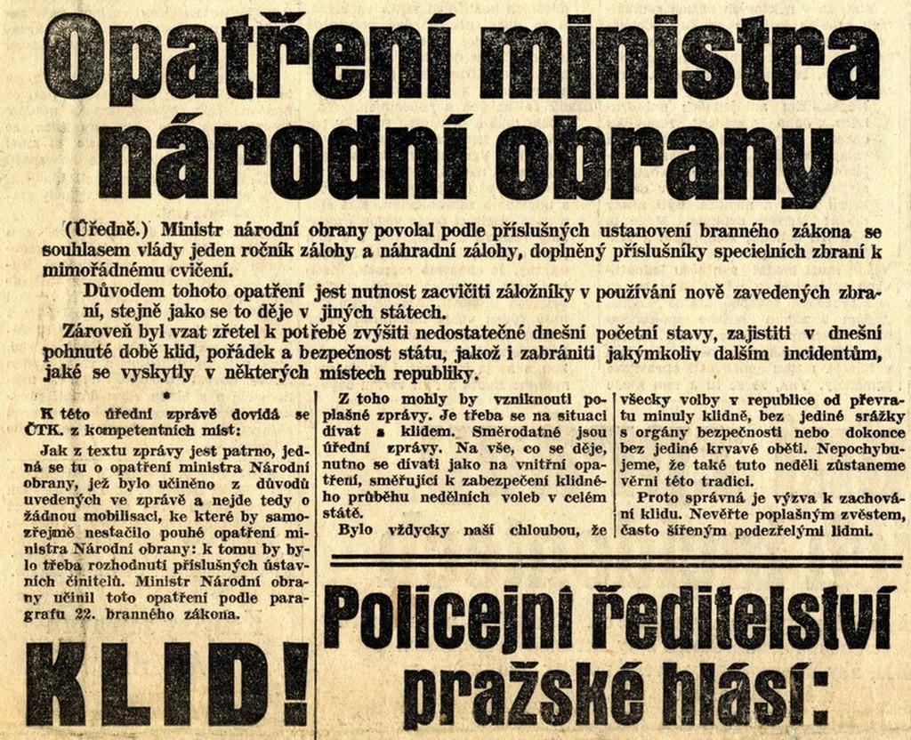 Jedna z tiskových zpráv, které čtenářům objasňovaly neobvyklou aktivitu čs. armády z 21. května 1938