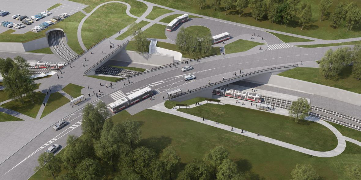 Vizualizace nové tramvajové trati do kampusu