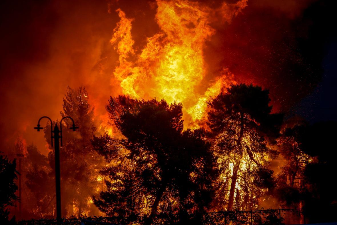 Lesní požár v Řecku