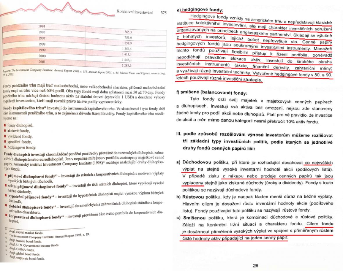 Diplomová práce ministra Metnara (vpravo) ve srovnání s knihou  Petra Musílka Trhy cenný papírů (vlevo)