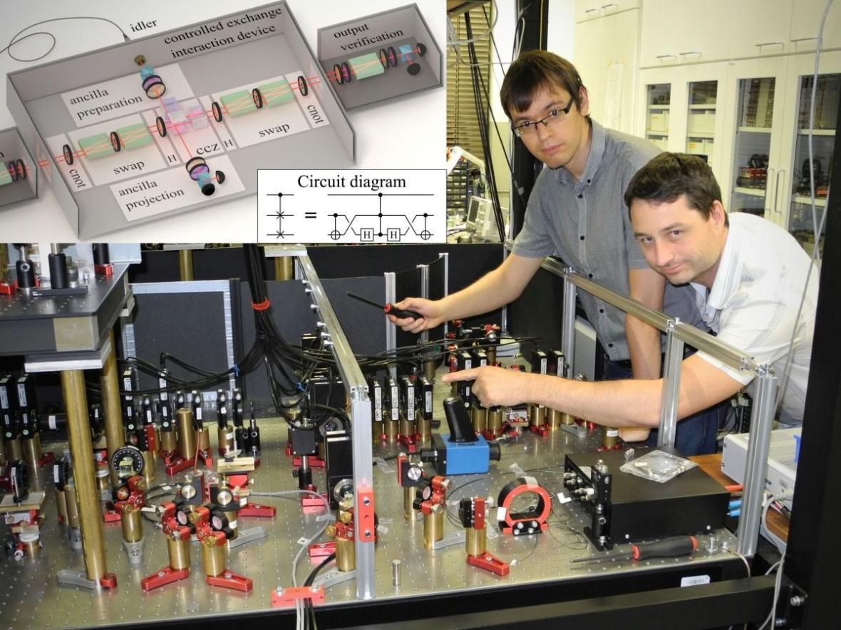 Vědci Michal Mičuda a Robert Stárek nad unikátním detektorem kvantových vlastností světla