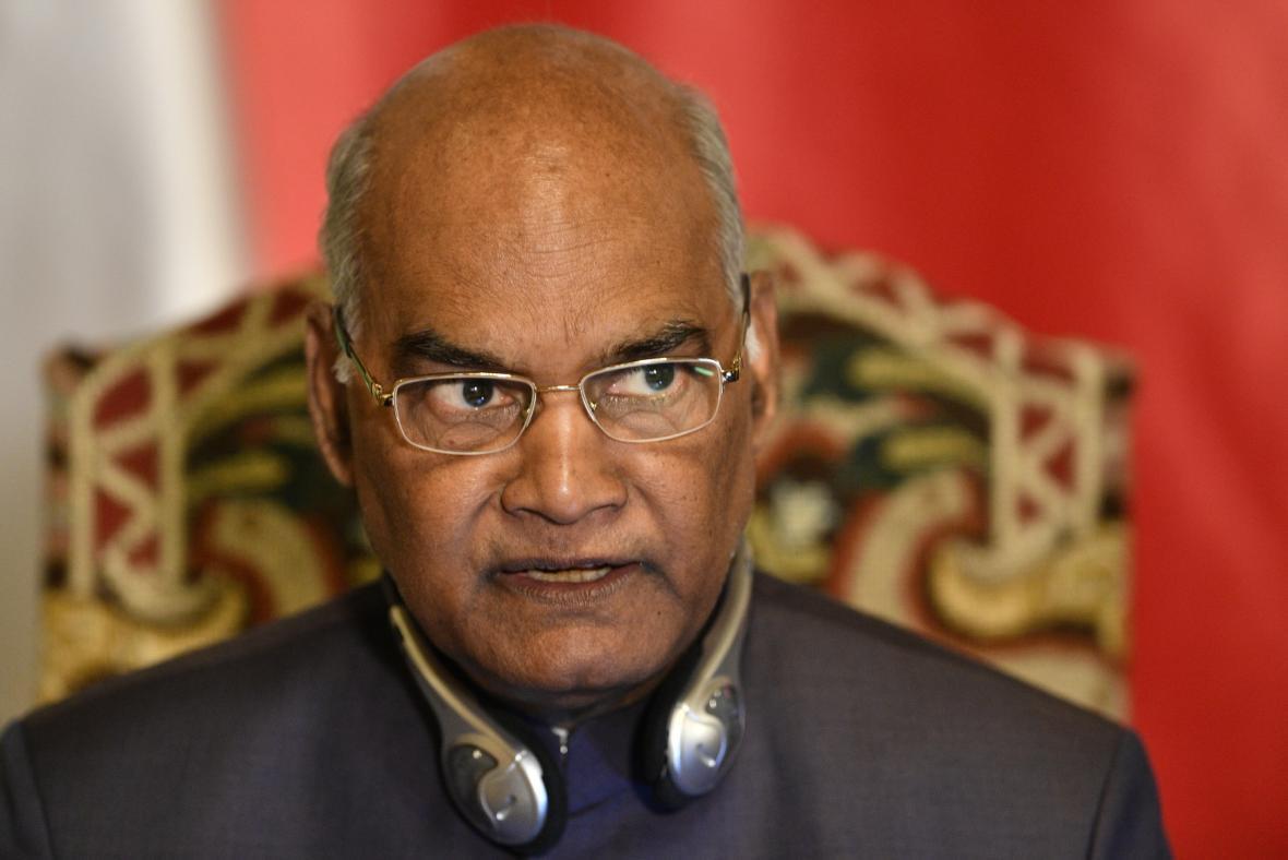 Indický prezident Rám Náth Kóvind 7. září 2018 na Pražském hradě při přehlídce Hradní stráže během své návštěvy v České republice.