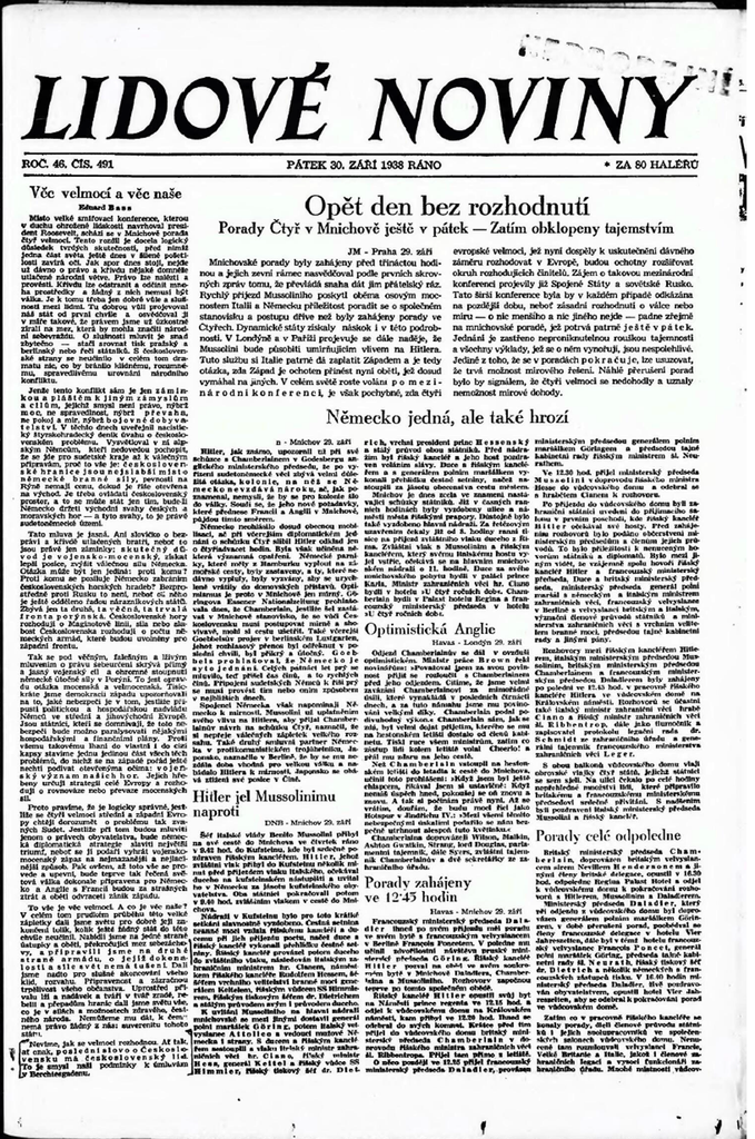 Dobové noviny o mnichovské dohodě