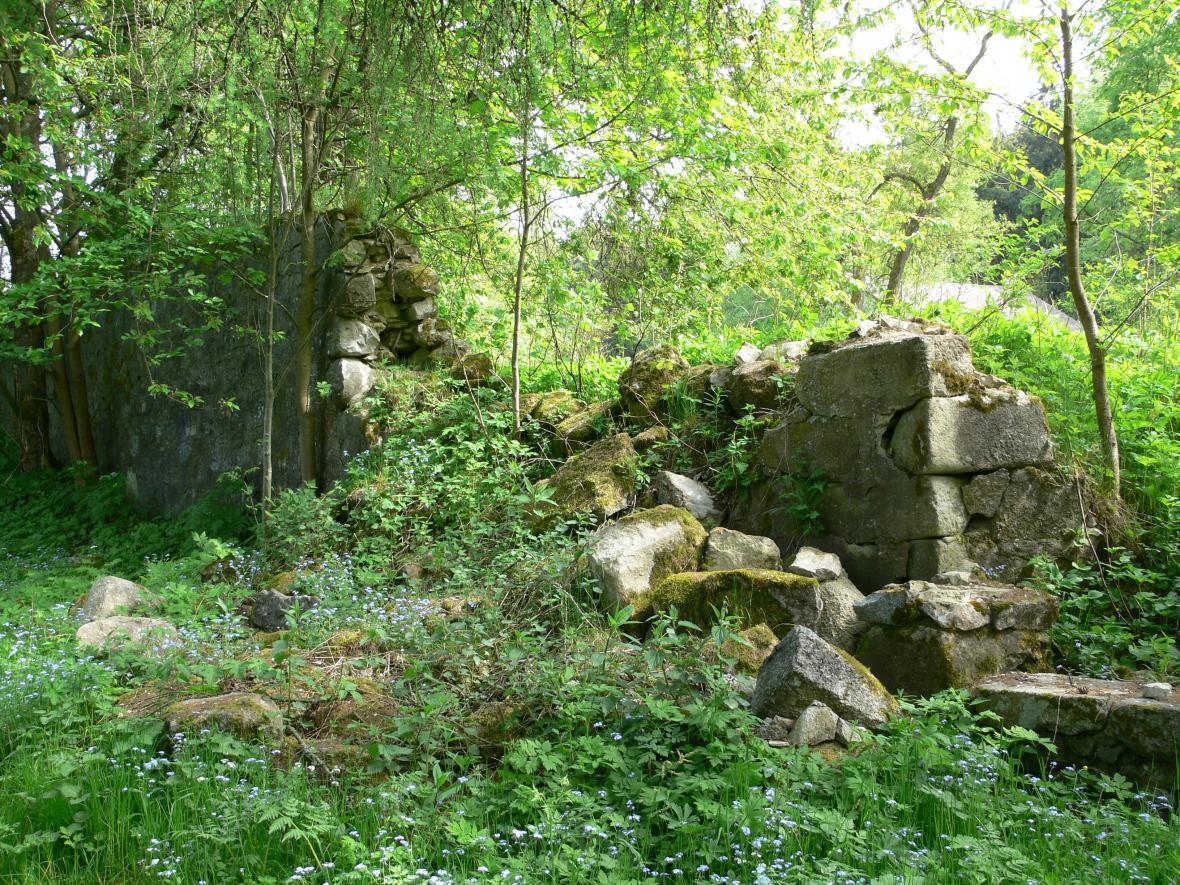 Zbytky zdi klášterní zahrady u tábora Mariánské